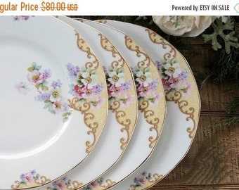 On Sale Breathtaking Antique Thun Windemere Dinner Plates Set of 4, Czechoslovakia, Multi Sided Plates Wedding China, Replacement China, Ca.