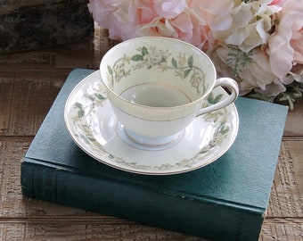 Mid Century Noritake Tea Cup Saucer Set Cottage Style Tea Cup Duet, Table Decor, Vintage Housewares, Housewarming Gift