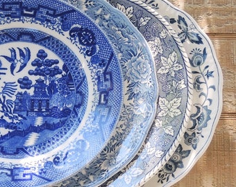 Mismatched Blue and White Dinner Plates for Weddings Set of 4, English Blue Transferware English China, Rustic, Replacement China