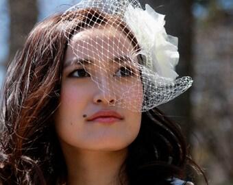 voilette avec fleur pour marie bibi mariage bibi voilette accessoires cheveux mariage voilette marie ivoire fleurs pince cheveux - Bibi Mariage Voilette