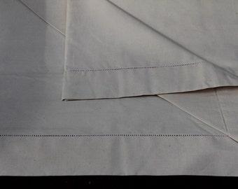 Vintage French bed sheet, Metis fabric sheet, Ecru sheet, Hemstitched sheet, French vintage top sheet, French vintage bed cover, French bed