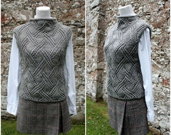 KNITTING PATTERN for women - crossing lace sweater vest/slipover pattern- Pdf listing 130