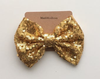 Sequin Bows 5 inches Gold