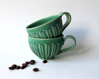 Ceramic Espresso Cup, Set of Two, Americano Cup, Cortado Cup, Handmade Coffee Cup, Tea cup in Matte Green by Cecilia Lind, Studio Lind