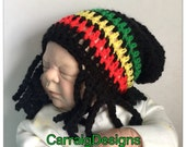Dreaded Baby boy girl crocheted knit hippie hippy Slouch or Fitted beanie rasta jamaican unique designer kids newborn hats bob marley adult