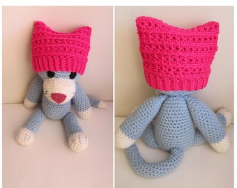 Crochet Pink NEWBORN Pussyhat / Baby Cat Ear / Pussyhat Baby Beanie / Women's March on Washington Baby Hat / Pussyhat Project Newborn Hat