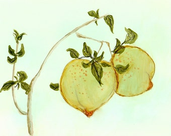 "Ink Painting, ""Peaches"", print, matted, backed, ready for framing"