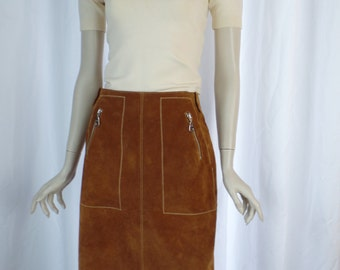 vintage RUDSAK cinnamon colored suede pencil skirt/ zip pocket +zig zag western topstitch detail/Office Cowgirl: size 7 woman