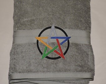 RTS Elemental Pentacle Embroidered Bath Towel Wicca witchcraft Bathroom witcraft Pagan spirituality Ready to ship