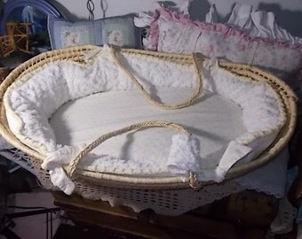 Vintage Moses Basket Chenille Beading, Baby Basket, Baby Bed, Baby Wicker rattan Basket