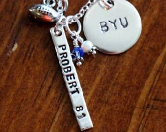 Football personalized name necklace- Football moms necklace- football jewelry- football coaches gift-