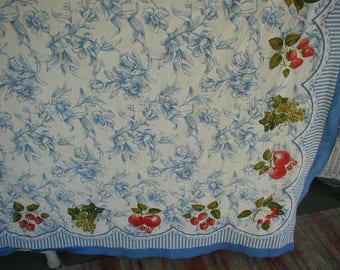 """Vintage  Tablecloth, Blue and White Botanical Print, Picnic Tablecloth  Large Size 60 x 82"""", With Apples and Cherries & Strawberries"""