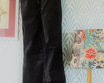 42. Vintage corduroy Piccadilly Paris bootcut pants, black with white stitching