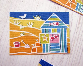ACEO print beach hut at the seaside
