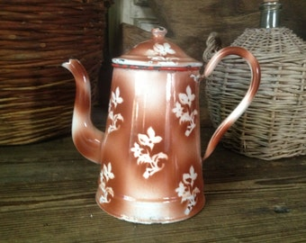 Chippy French Enamel Coffee Pot Rustic Floral French Farmhouse