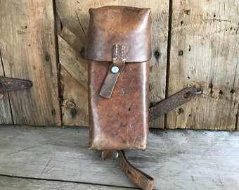 Vintage French Leather Pouch Tool Case, Military