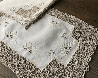 Needle Lace Linen Placemats, Table Linens, Hand Embroidered, Cream Linen Place Settings