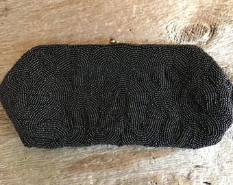 Reserved for Chen 1950s Black Beaded Dress Clutch Purse, Mid Century Handbag, Saks Fifth Avenue