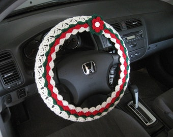 Holiday Steering Wheel Cover, Wheel Cozy with a Flower - cherry red/paddy green/soft white  (CSWC 6P-F)