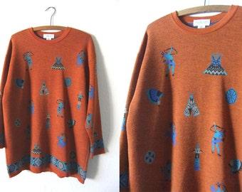 Rust Orange Native American Print Sweater - Elongated Southwestern Style 90s Vintage Jumper - Mens Medium