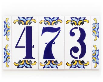 Enamel letter tile, Modern house number, Rustic house number, Letter tile, House number, Boho gifts for modern home, Glazed number sign