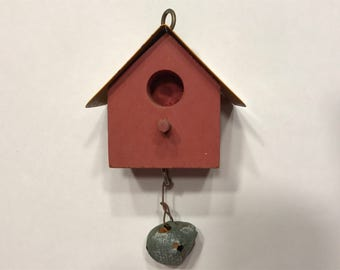 wood and yellow metal roof small / tiny Bird house (A5)