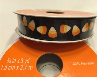 3 yards of black with Candy Corn ribbon, 5/8 inches wide (A3)