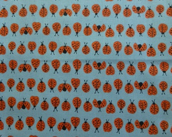 1/2 Yard Organic cotton, Monaluna, Cottage Garden, Ladybugs Blue