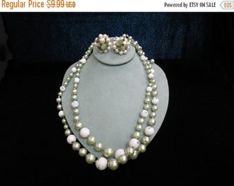 On Sale Vintage 2Pc Sage Green Beaded Matching Necklace And Clip Earring Set Item K # 1188