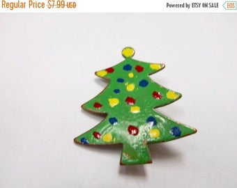 On Sale Vintage Copper Enameled Christmas Tree Pin Item K # 204