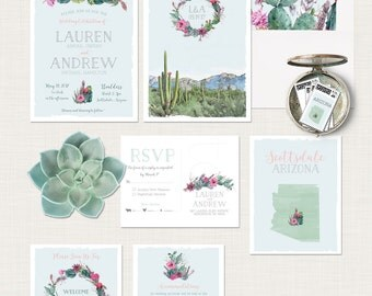 Destination wedding invitation Arizona Scottsdale Phoenix Desert cactus succulent rose illustrated wedding invitation Suite Deposit Payment