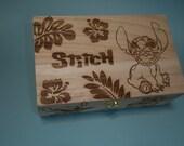 Stitch Etched Wood Trinket Box