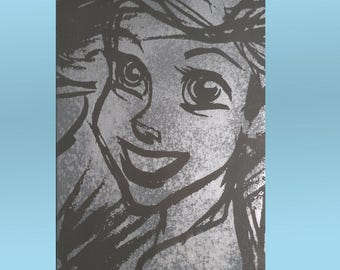 Ariel the Little Mermaid / Shimmering Metallic Silver on Grey Canvas