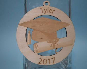 TWO sided! Personalized graduation wood ornament.