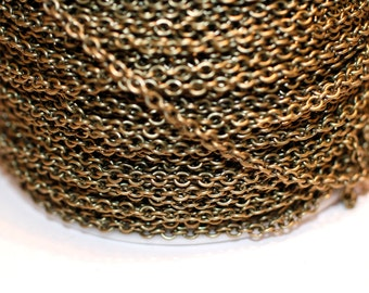 42ft Antique Brass Plated Cable Chain 3.6x3x.07mm unsoldered links