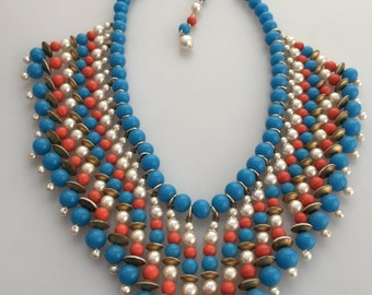 1960s Vintage BIB Necklace Faux Turquoise Coral Pearls Beaded Necklace Egyptian Princess Statement Necklace FRINGED Necklace Haskell Style
