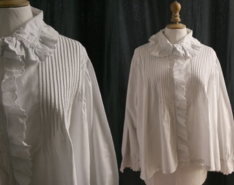 Antique white blouse, long sleeves, , cotton brushed flannelette . 1900's