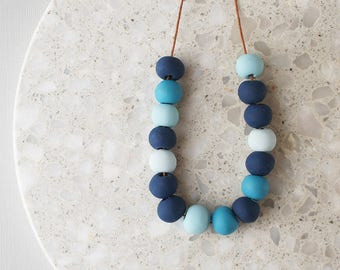 Beaded Necklace in Shades of Blue - Handmade Polymer Clay Beads - Limited Edition - Adjustable