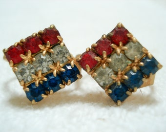 Vintage clip earrings - red, white and blue