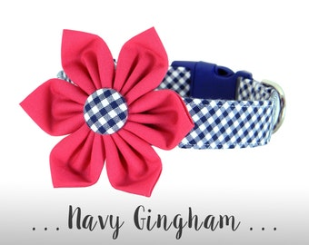 Pink and Navy Gingham Flower Dog Collar; Blue Check Plaid Dog Collar: Navy Gingham