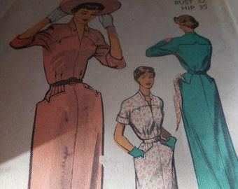 SALE Vintage 1950's Advance Dress Sewing Pattern, Size 14 Bust 32