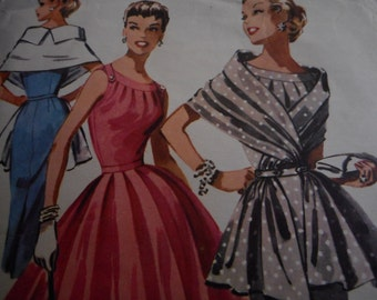 SALE Vintage 1950's McCall's 3564 Dress with Stole Sewing Pattern, Size 12 Bust 30