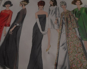 Vintage 1960's Vogue 6908 Special Design Evening Dress and Coat Sewing Pattern, Size 14 Bust 34
