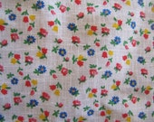 1970's Tulip Calico, Calico, Ditsy, Tulip Floral, Flower, Quilter Weight, White, Pink, Blue, Yellow, 1960's, 1970's, Cotton, Quilt Fabric