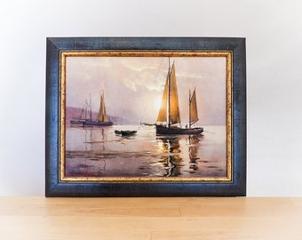 Vintage painting reproduction, landscape seascape, framed wall hanging