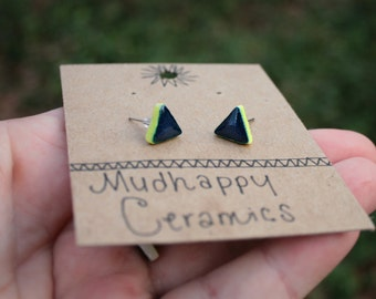 Teal and Chartreuse Triangle Studs, Glazed Ceramic Earrings