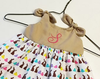 Easter dress, monogrammed easter dress, chocolate bunny dress, chick dress, girls easter dress, first easter outfit, sisters easter dresses