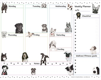Dog Days Weekly Planner Download - Printable Weekly Planner - Dog Planner with dog paintings - planner printable - weekly planner download