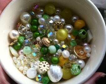 Lemons + Limes Bead Soup - Destash Mixed Lot of Beads in Shades of Yellow, Green + Pearl