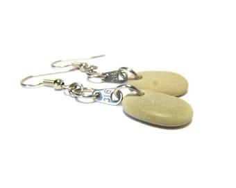 Blonde Beach Stone Earrings, John 3:16 Earrings, 316 Metal Tags, Stainless Steel, Lake Michigan Stones, Natural Stones, Stone Earrings